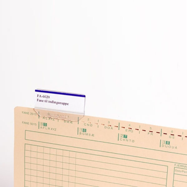 Indlægsmappe fane 60 x 20 mm A4 Systemer Til Indlægsmappe | Fa6020 | Indlægsmappefane | Struktuhr.dk